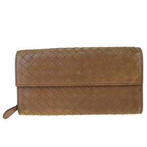 Bottega Veneta Intrecciato Leather Long Bill Wallet (bi-fold) Brown