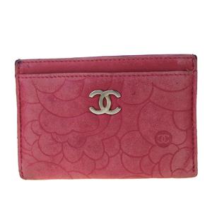 シャネル(Chanel) カメリア レザー カードウォレット ピンク