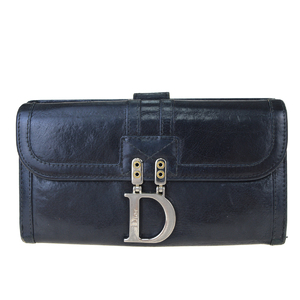 Christian Dior Leather Long Bill Wallet (bi-fold) Black