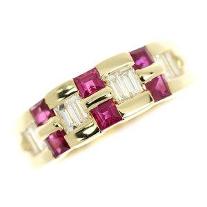 Genuine K18 Ruby 0.400ct Diamond 0.900ct Ring No.13 6.6g