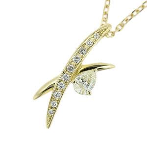 Genuine K18 diamond 0.46ct 0.16ct necklace 8.1g