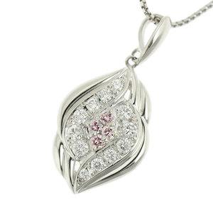 Genuine Platinum Pt950 Pink Diamond 0.07ct 0.23ct Necklace 44cm Top 2.5g 2.3g