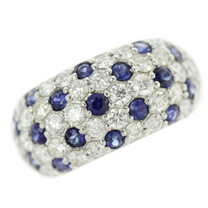 Genuine Platinum Pt900 Blue Sapphire 0.78ct Diamond 1.16ct Ring No.12 6.9g