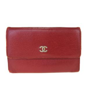 シャネル(Chanel) レザー 中財布(二つ折り) レッド