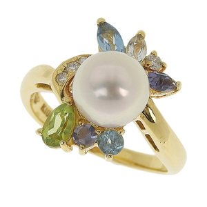 No Brand OTHER BRAND Ring K18YG Pearl 7mm Mele Diamond 0.05ct No.11