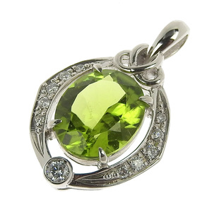 Valente No brand OTHER BRAND natural olivine pendant top Pt900 Peridot 3.46ct