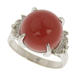 No brand OTHER BRAND Natural coral ring Pt900 珊瑚 11mm Merediya 0.11ct 11.5