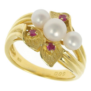 No brand OTHER BRAND ring K18YG Ruby 0.09ct Pearl 6.7g No.11