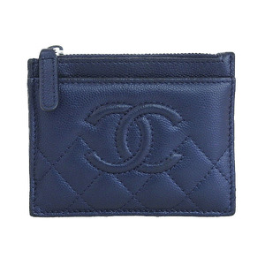 Chanel CHANEL 00s Made in Italy Matrasse Leather Card Case Navy 24 series