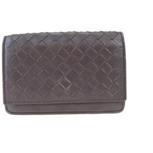 Bottega Veneta Intrechart Leather Business Card Holder Brown 07GA144