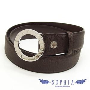 Bvlgari round buckle leather belt brown 20191112