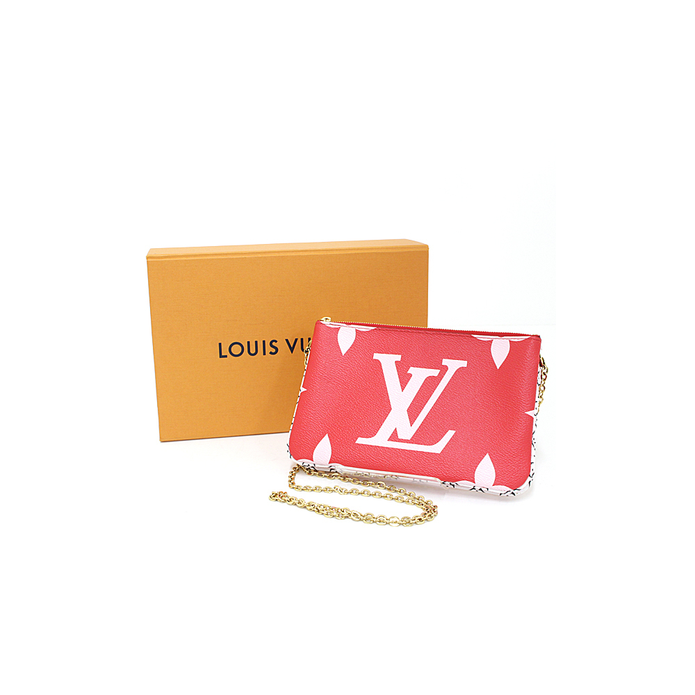 Louis Vuitton LOUIS VUITTON Giant Monogram Pochette Double Bull Zip Rouge (Red Pink White) M67561 2019 Summer Capsule Collection Shoulder Bag Pouch Like New