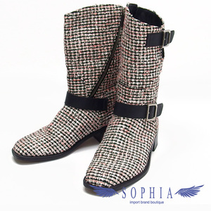Chanel Tweed Engineer Boots Pink x White Black 20191011