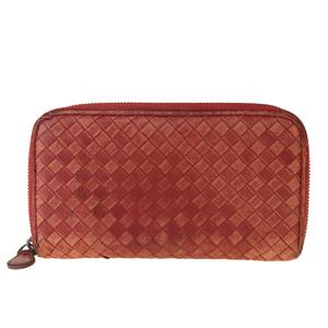 ボッテガ・ヴェネタ(Bottega Veneta) イントレチャート レザー 長財布(二つ折り) レッド