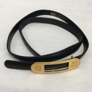 LOEWE Loewe Leather Belt Gold Plate Black Men Unisex 283534 RM2365T