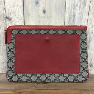 Celine Clutch Bag Pouch Hand Held Macadam Pattern Gray Red Ladie