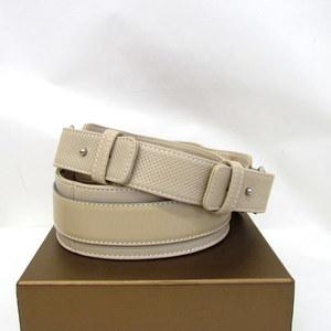 LOEWE Loewe Belt 180312 Sacoche Leather 80-32 Logo Simple Beige Silver Hardware Save Ladies 347317 RYB3326