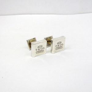 TIFFANY & Co. Tiffany Cufflinks Silver Logo Square T CO 925 Storage Bag Accessories Business Wedding Party Gentleman Men's 370896 RYB4528