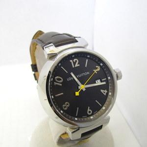 LOUIS VUITON Louis Vuitton Tambour Q1111 Leather Belt Brown Silver Black Dial 3 Needles Date quartz Watch