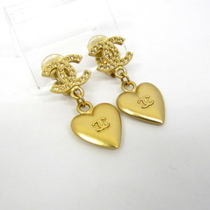 CHANEL Chanel Earrings Heart Gold 02P Coco Mark Stone Accessory Ladies 372753 RYB4350