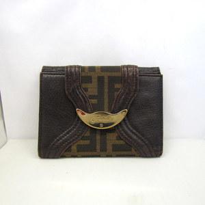 FENDI Fendi double fold wallet W hook zucca canvas leather brown ladies men's 366516 RYB4090