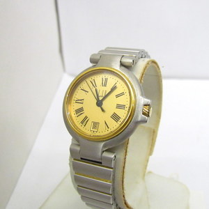 dunhill watch quartz round face silver gold dial logo date analog 3 needle simple ladies 375822 RY2008