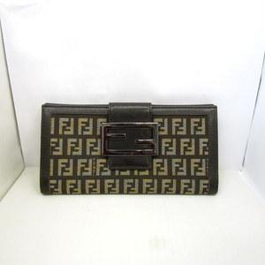 FENDI Fendi Folded Wallet W Hook Zucchino Brown Canvas Leather Total Pattern Long Ladies Men 366530 RYB4097