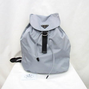 PRADA Prada rucksack bag pack VZ0054 nylon triangle plate drawstring light gray blue ladies men's 360729 RYB3804