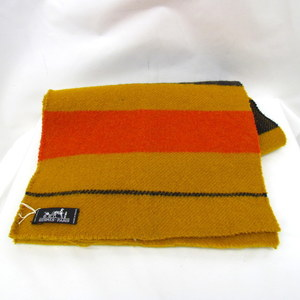 HERMES Hermes muffler rocabal LAINE wool border mustard yellow orange navy cold protection casual men's women's 372203 RYB4457