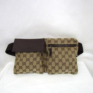 GUCCI Gucci waist bag body GG canvas 28566 beige brown cross diagonal hanging shoulder total pattern men's women's 360828 RYB3797