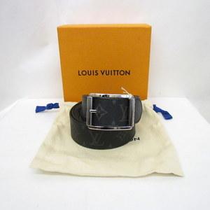 LOUIS VUITTON Louis Vuitton Belt Santulle Riverso MP036U Monogram Eclipse Black Silver Gray Reversible Hardware Men's 374320 RYB4361