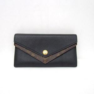 LOUIS VUITTON Long Wallet Women's Men's 368251 RYB4180 Purse Porteuil Dupul V M64319 Black Brown Monogram LV Snap Button Open / Close Leather Coin