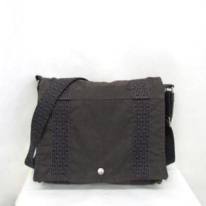 HERMES Hermes Shoulder Bag Basus PM Yell Line Canvas Gray Slanted Crossbody Sling Silver Hardware Ladies Men 372784 RYB4325