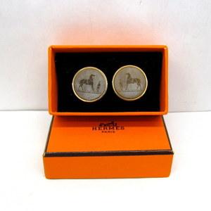 HERMES Hermes Earrings Coroso Horse Gold Hardware Brown Accessories Ladies 373378 RYB4399