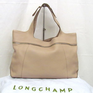 LONGCHAMP Longchamp tote bag one shoulder pink beige leather fastener metal fittings silver ladies 鞄 with storage