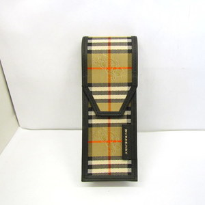 BURBERRY Burberry Pen Case Multi Black Brown Plaid Canvas Leather Stationery Men Women 372456 RYB4338