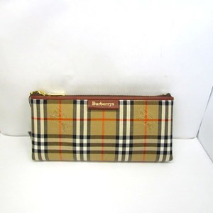 BURBERRYS Burberry Pen Case Brush House Check Plaid Brown Gold Hardware Canvas Leather Stationery Multi Men Women 372449 RYB4337