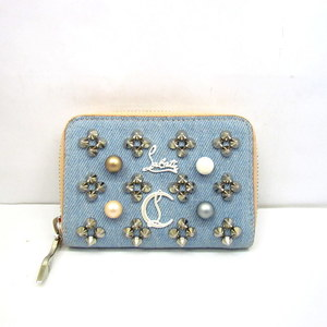 Christian Louboutin Christian Loubout Louboutin Coin Case Round Fastener Denim Faux Pearl Panettone Studs Pink Light Blue Compact Wallet Purse Ladies Bag 378403 RYB4576
