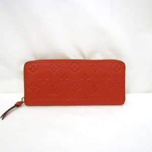 LOUIS VUITTON Long Wallet Portofeuille Clemence M60169 Monogram Anplant Red Round Fastener Slyze with Bag 376782 RYB4506