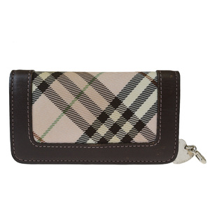 Burberry Blue Label Nylon Leather Key Case Checked