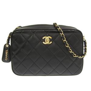 Genuine CHANEL Chanel Matrasse Lambskin Coco Mark Shoulder Bag Black 3rd Leather