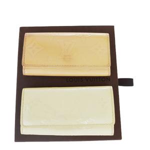 Louis Vuitton Monogram Vernis 2-piece Set Multicles M91324 M91360 Patent Leather Key Case Pearl,Pink Cream