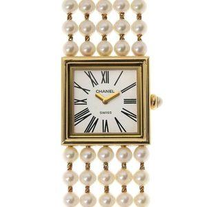 CHANEL Mademoiselle K18 750YG Pearl L Ladies quartz watch