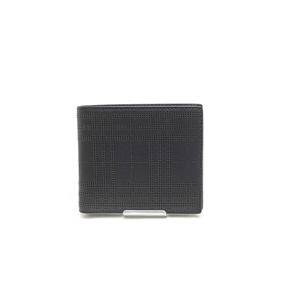 Burberry Punching Check Bi-fold Wallet Black