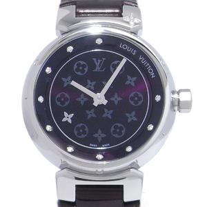 Louis Vuitton Tambour Disc Diamon PM Ladies Watch Q12M30 Stainless Steel Amarant Purple Dial DH41551