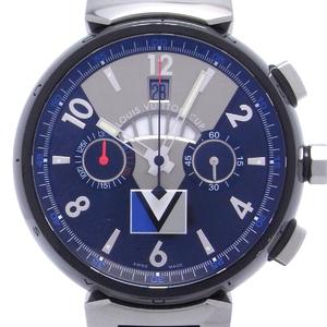 Louis Vuitton Tambour Regatta Chronograph Men's Watch Stainless Steel Black Silver Dial DH46488