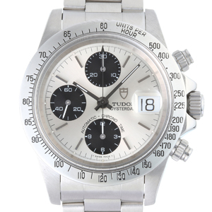 Tudor Chrono Time Chronograph Mens Watch 79180 Stainless Steel Silver Black Dial