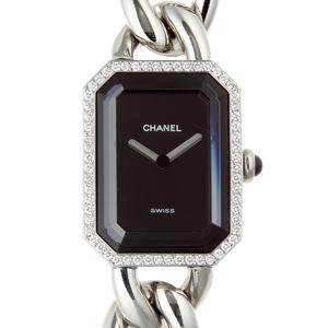 CHANEL Premiere M Diamond Ladies Watch H3252 Stainless Steel Black Dial