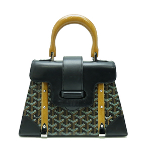 Goyard Goyal Saigon PM Mini Handbag Ladies Wood Handle PVC Black
