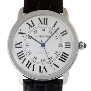 CARTIER Rondo Solo XL Mens Watch W6701010 Stainless Steel Silver Dial